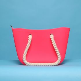 Womens Fucshia Silicon Beach Bag