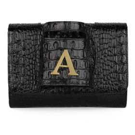 Sac Studio - Haidi Casual Black Leather Clutch Bag with a Gold Plated Letter A