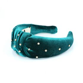 Embelished XL Knot Head Band - Blue Green