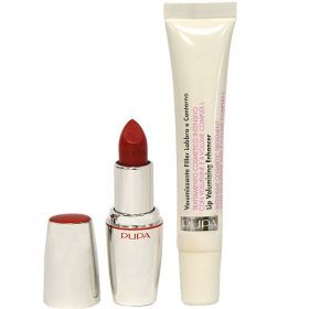Pupa Lips Kit Lip Volumizing Plumper Enhancer Cream + Lipstick Divas Rouge - N 17