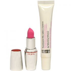 Pupa Lips Kit Lip Volumizing Plumper Enhancer Cream + Lipstick Divas Rouge - N 19