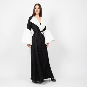 Abati - Black and White Abaya with a Belt - Model 444 - Length 57 inch
