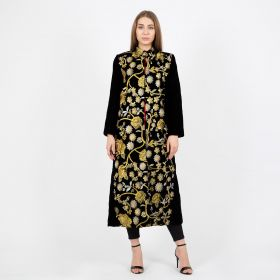 Embroidered Coat -Black