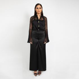 Pleated Shirt With Flared Pants - Black
