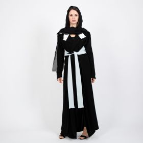 Abati - Black& White Mareena Abaya with Belt - Large