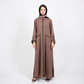 Al Faysaleya - Brown and Black Strip Abaya