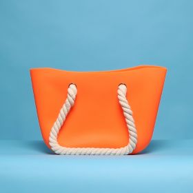 Womens Orange Silicon Beach Bag