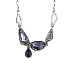 925 Sterling Silver  Necklace with Tanzanite Swarovski Crystals and Aaa Zircon