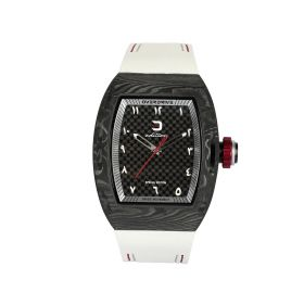 Quartz Matte Black & White Watch - Men