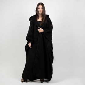 Cashmere Black Embroided Hooded Shawl