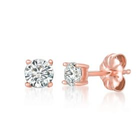Solitaire Brilliant Earrings Finished in 18KT Rose Gold - 0.50 Carat