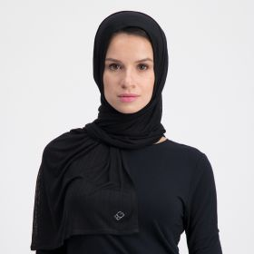Double Stretch Cotton Scarf - Black