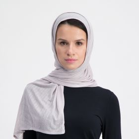 Double Stretch Cotton Scarf - Light Grey
