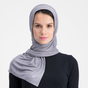 Double Stretch Cotton Scarf - Mid Grey