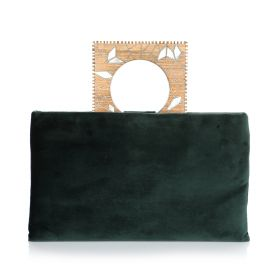 Clutch With Square Wood Handle - Dark Green