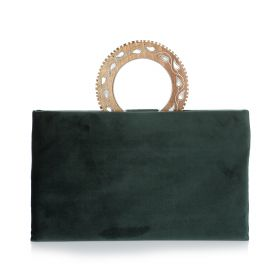 Clutch With Round Wood Handle - Dark Green
