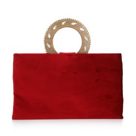 Clutch With Round Wood Handle - Red