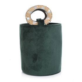 Mini Bucket Bag With Wood Handle - Dark Green