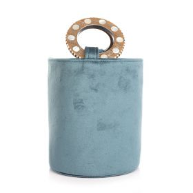 Mini Bucket Bag With Wood Handle - Blue