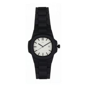 Pearl White Quartz Black Band Watch