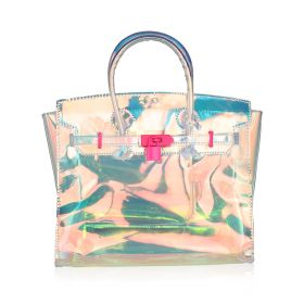 Transparent Hand Bag With Pink Lock