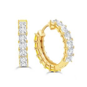 Duo 13 mm Hoops Earrings with Canary and Clear Stones - Gold  Plated
