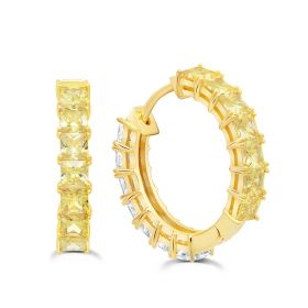 Duo 22 mm Hoops Earrings with Canary and Clear Stones - Gold Plated