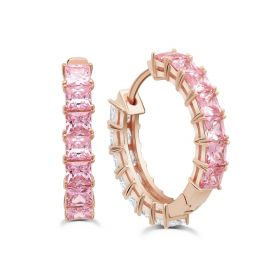 Duo 22 mm Hoops Earrings with Pink and Clear Stones - Rose Gold Plated