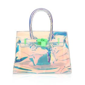 Mini Hand Bag with Green Lock - Transparent