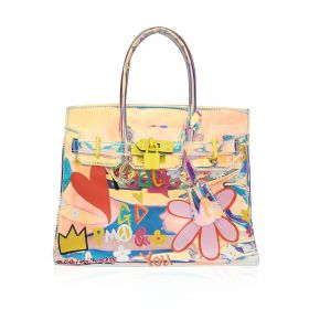 Mini Floral Hand Bag with Yellow Lock - Transparent