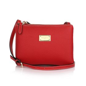 Sara Three Zippers Crossbody Bag - Red
