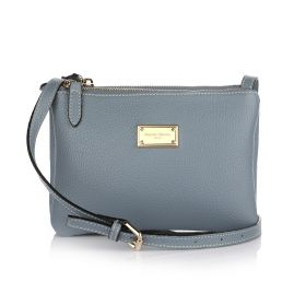 Sara Three Zippers Crossbody Bag - Light blue