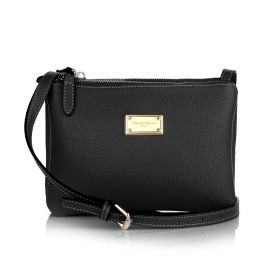 Sara Three Zippers Crossbody Bag - Black