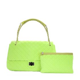 Diamond Flap Bag - Neon Yellow