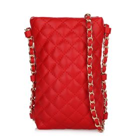 Quilted Cross Body Bag With Chain - Red