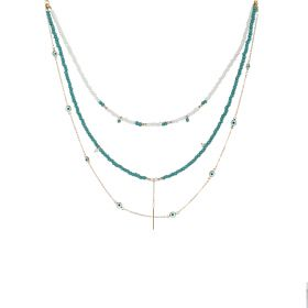 All Eyes On Us Necklace - Turquoise & White