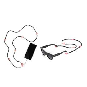 Pink Dots Sunglasses & Mobile Straps Set - Black - 2 pcs