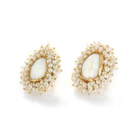 Gold and Pearl Earings - White