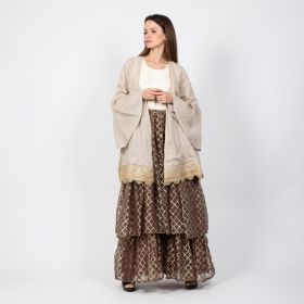 Long Off White and Brown Daraa with a Beige Coat & Belt