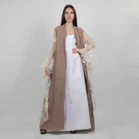 Kaftani - Brown Daraa with Netted Sleeves