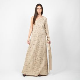 Mykonos - Beige off shoulder Daraa with a Flower design
