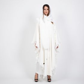 White Abaya with a Skirt and a Scarf