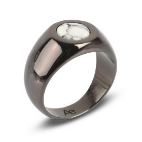 Circular Signet Ring - White