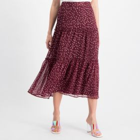 Printed Maxi Skirt - Burgundy
