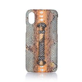 iPhone X/XS Real Python Leather Cover - Coffee Orange