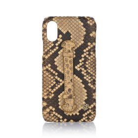iPhone X/XS Real Python Leather Cover - Apricot