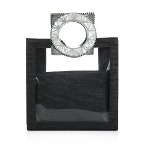 Plastic Bag With Sadaf Handles - Black