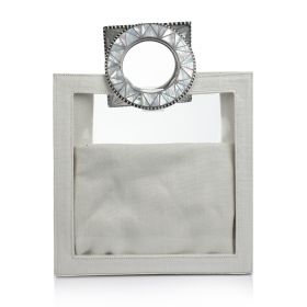 Plastic Bag With Sadaf Handles - Off-white