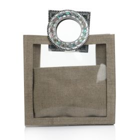 Plastic Bag With Sadaf Handles -  Jute