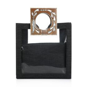Plastic Bag With Wood Handles - Black